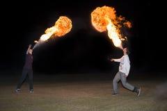 3 de maio de 2014 Ulan-Ude, Rússia: uma mostra do fogo na cidade de Ulan-U Imagem de Stock Royalty Free