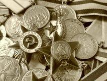 9 de maio - dia da vitória O close-up orden ` patriótico da guerra do ` do grande, orden do ` vermelho da estrela do ` na perspec fotografia de stock royalty free