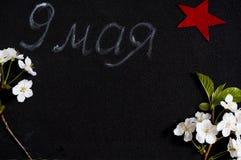 9 de maio em um fundo preto, flores de cerejeira Estrela vermelha um símbolo da vitória honra do 9 de maio Imagem de Stock Royalty Free