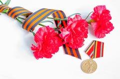 9 de maio fundo festivo de Victory Day - medalha do jubileu da grande guerra patriótica com os cravos e a fita vermelhos de St Ge Fotografia de Stock