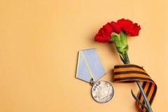 9 de maio fundo Medalha da grande guerra patriótica, ribb do ` s de St George Fotos de Stock