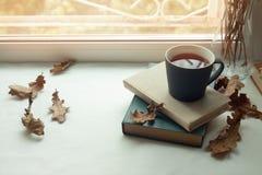 De maison toujours la vie confortable : chandelier et livres sur le rebord de fenêtre contre le paysage dehors Vacances d'automne Photo stock