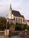 De majestueuze kathedraal in Cesky Krumlov royalty-vrije stock foto