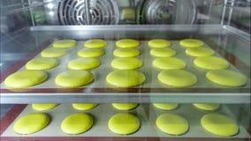 De makarons op de mat van het stencilsilicone bakt in oven Mening door het glas stock fotografie