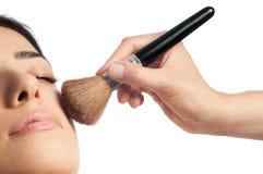 De make-up en bloost royalty-vrije stock afbeeldingen