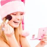 De make-up van de helper van de kerstman royalty-vrije stock fotografie