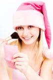 De make-up van de helper van de kerstman stock fotografie