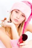 De make-up van de helper van de kerstman stock afbeeldingen