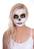 De make-up van de schedel op blonde jong meisje Stock Fotografie