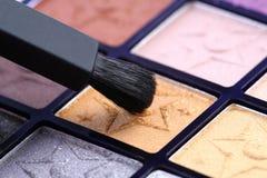 De make-up van het oog met borstel Stock Foto