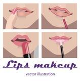 De make-up van lippen Stock Afbeelding