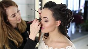 De make-upkunstenaar doet een make-up aan donker-haired meisje stock video