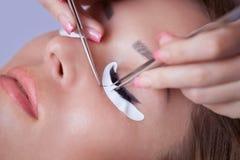 De make-upmeester verbetert, en versterkt wimpersstralen, standhoudend een paar pincet stock foto