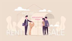 De makelaar in onroerend goed verkoopt huis vector illustratie