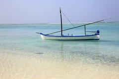 De Maldiven: de mooie kustlijn van zoneiland in Ari-atol Stock Afbeelding