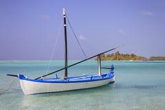 De Maldiven: de mooie kustlijn van zoneiland in Ari-atol Stock Foto