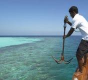 De Maldiven - het Dalen anker Stock Afbeeldingen