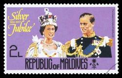 De MALDIVEN - Postzegel stock afbeelding