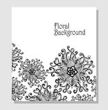 De malplaatje zen-Krabbel bloeit patroonzwarte op wit Royalty-vrije Stock Afbeeldingen
