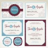 De malplaatjes van de de uitnodigingskaart van het huwelijk Stock Foto's