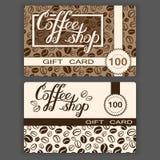 De malplaatjes van de giftkaarten van de koffiewinkel Vector illustratie van coffee stock illustratie