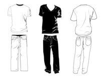 De malplaatjes van de t-shirt en van de broek Stock Foto's