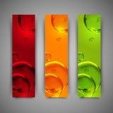 De malplaatjes van het bannerontwerp met kleurrijke waterbellen Stock Fotografie