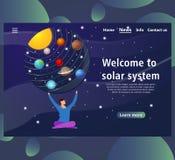 De malplaatjes van de websitepagina met Zonnestelselontwerp vector illustratie