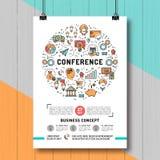 De malplaatjesa4 grootte van de bedrijfsconferentieaffiche, de pictogrammen van de lijnkunst vector illustratie