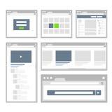 De malplaatjesinzameling van de websitepagina Stock Afbeeldingen
