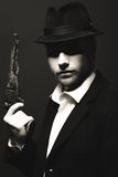 De man in de gangster van stijlchicago royalty-vrije stock fotografie