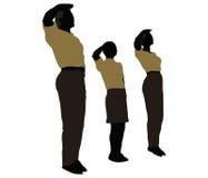 de man, de vrouw en een kindsilhouet in Militaire Begroeting stellen Royalty-vrije Stock Foto