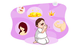 De man die bidden voor bedelt veel ding Vector Illustratie