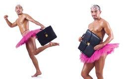 De man die die ballettutu dragen op wit wordt geïsoleerd Royalty-vrije Stock Foto's