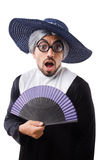 De man die die nonkostuum dragen op wit wordt geïsoleerd Royalty-vrije Stock Foto