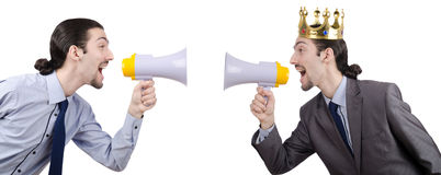 De man die en met luidspreker schreeuwen schreeuwen Royalty-vrije Stock Afbeeldingen