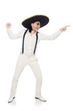De man die Mexicaanse die sombrero dragen op wit wordt geïsoleerd Royalty-vrije Stock Afbeeldingen