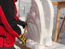 De man doet de vlinder van sneeuw Royalty-vrije Stock Fotografie