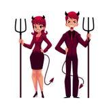 De man en de vrouw kleedden zich als duivels in pakken stock illustratie