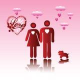 De man en de vrouw van de valentijnskaart Royalty-vrije Stock Afbeelding