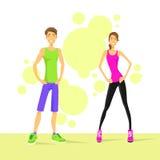 De Man en de Vrouw van het sportpaar Atletisch over Kleurrijk Stock Fotografie