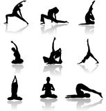 De man en de vrouwensiluettes van de yoga royalty-vrije illustratie