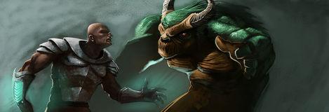 De man en het monster stock afbeeldingen