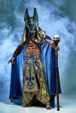 De man in het beeld van oude Egyptische Farao Stock Fotografie