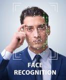 De man in het concept van de gezichtserkenning stock afbeeldingen