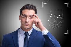 De man in het concept van de gezichtserkenning royalty-vrije stock afbeelding