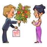 De man in kostuum geeft een boeket van bloemen en een giftvrouw Royalty-vrije Stock Fotografie