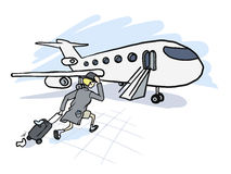 De man is laat voor het vliegtuig Royalty-vrije Stock Foto's