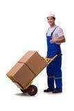 De man met dozen op wit wordt geïsoleerd dat Stock Fotografie