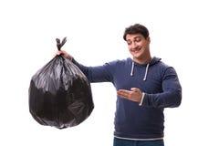 De man met huisvuilzak die op wit wordt geïsoleerd Royalty-vrije Stock Afbeelding